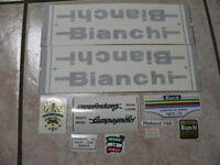 Bianchi bici Bike 10 Vinyl Decals Stickers Frame Replacement Set vintage adesivi