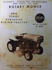 Sears Suburban David Bradley Riding Tractor Mower 91760651 Owner Amp Parts Manual