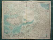 1921 grande carte ~ nord régions polaires banquise explorateurs routes & dates courants