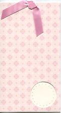 "Invitations Cross My Heart Box of 10 pull-up Heart Blush-Ecru Pattern 4 3/4""x 8"""