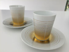Bernardaud Loop Gold and White Two Expresso Cups and Saucers - now discontinued