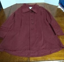 Soft Surroundings Burgundy Red Coat Jacket Pleated Crochet Design Cardi Small