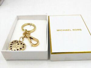 NEW in Box Michael Kors Gold Heart Logo Key chain Keyfob Charm
