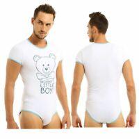 Homme Une Pièce Body Sexy Vêtement de Nuit Pyjama Barboteuse à Manches Courtes