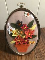 Vintage RETRO Mod 5 x 7 Easel Floral Picture Rick-Rack/Beads Domes Glass ORANGE