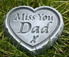 Miss You Dad - ENGRAVED STONE Heart Memorial Grave Cremation Father Plaque