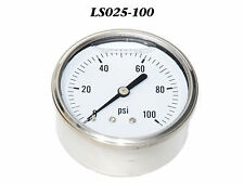 New Hydraulic Liquid Filled Pressure Gauge 0-100 PSI 1/4 NPT Center Back Mount