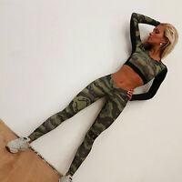 Womens Camouflage Yoga Pants Leggings Long Sleeve Tops Shirts Running Sport Suit