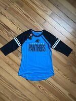 Womens Carolina Panthers Nike Blue/Black Sleeve Stripe 3/4 Sleeve Raglan T-Shirt