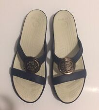 Crocs Sanrah Circle Sandals Women's Navy Blue/Beige Wedge Flip Flop Embellished