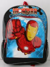 "Iron Man 16"" Large Backpack with water holder Boys Girls Kids Large school bag"