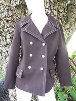 1960s MOD Vintage Womens Double Breasted Wide Lapels Jacket Blazer Medium Brown