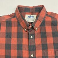 Urban Pipeline Button Up Shirt Men's Size 2XL XXL Short Sleeve Red Gray Check