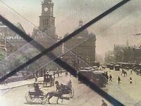 ANTIQUE VINTAGE OLD POSTCARD GEORGE ST NORTH SYDNEY AUSTRALIA TRAMS QV MARKETS