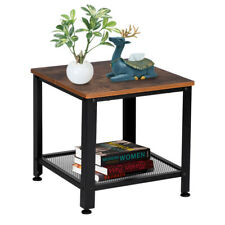 2-Tier Side Table Industrial End Table with Storage Shelf with Metal Frame