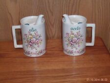 Collectible Set Of Porcelaine Oil & Vinegar Pitchers From Italy