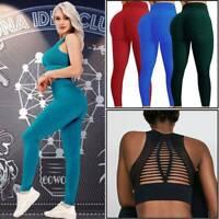 Women Yoga Suit Seamless Crop Tops Pants Set Leggings Sports Fitness Stretch Gym