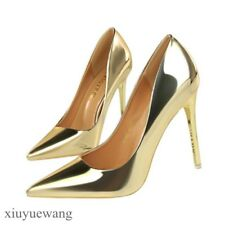 Womens High Heel Stiletto Pointy toe Shoes Shinny Patent Leather Pull on Pumps