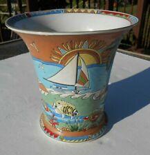 Vintage Jena Hall Hand Painted Beach Scene Fish Vase