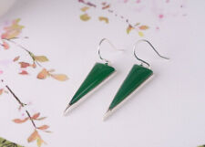 G05 Earring Spiky Triangle Made of Green Agate and Sterling Silver 925