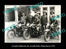 OLD LARGE HISTORIC PHOTO OF ARCADIA CALIFORNIA, POLICE MOTORCYCLE UNIT c1932