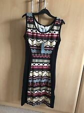 New Look Black Tunic. Top With Aztec Pattern In Gold, White And Maroon, Size S