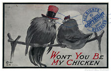 Pin-up Print : WONT YOU BE MY CHICKEN horny rooster + hen FUN MAN CAVE ART DECOR