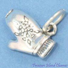 Winter Snow Ski Mitten 3D 925 Solid Sterling Silver Charm MADE IN USA