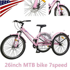 Adult Mountain Tricycle 7 Speed Three Wheel Bike 24Inch Trikes &Basket Exercise