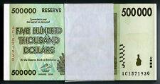 Zimbabwe 500,000 P76 500 Thousand Dollars x 100 notes full bundle 2008 UNC