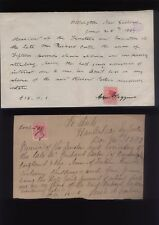 1887 NEW ZEALAND Legacy Receipts and stamps, Le Aute, Hawks Bay, Wellington