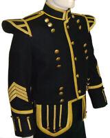 UK Military Piper Drummer Doublet Tunic Kilt Jacket Black Custom Made -100% Wool