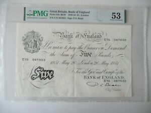 Beale White £5, '26th may 1951', 'U75 067053 ' AU 53 ' about uncirculated