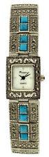Reloj De Pulsera acabado Metálico Antiguo Picador Marcasita Analógico Cristales Turquesa