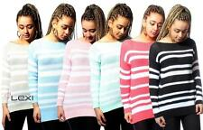 Hip Length Boat Neck Striped Jumpers & Cardigans for Women