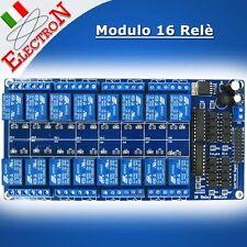 Modulo 16 Relè 5V in (12V alim.) - 250V /10A OPTO Relay Module x Arduino Pic ARM