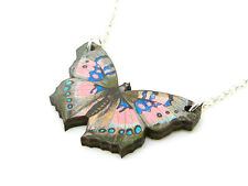 """BEAUTIFUL PINK BLUE BROWN DETAILED WOODEN BUTTERFLY SILVER 18"""" NECKLACE PENDANT"""