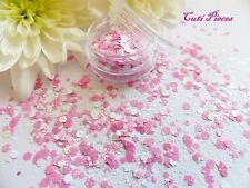 Nail Art Chunky *StrawBerry MilkShake* Pink White Hexagon Glitter Spangle Pot Mx