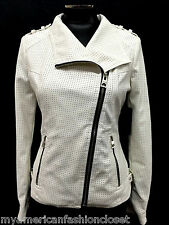 GUESS JACKET ZIP FRONT FAUX LEATHER MOTO PERFORATED J SCUFFY WHITE SIZE S MyAFC