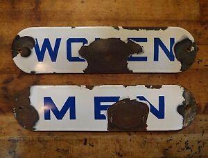 Porcelain Men & Women Restroom Signs Blue White Antique Gas Station