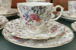 VINTAGE GILT & FLORAL PRETTY 1940S BONE CHINA TRIO, CUP, SAUCER AND TEA PLATE
