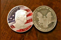 <HOT COLOR DETAIL>PATRIOTIC FLAG Donald TRUMP SILVER Coin W/CASE~U.S SELLER~ ☆✔