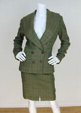 Alaïa Vintage Green/Brown Plaid Wool Skirt and Jacket Suit Sz 8/40