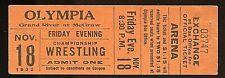 Vintage November 1932 Wrestling Ticket Stub Olympia Stadium Detroit, Michigan