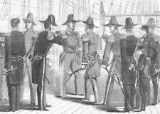 MILITARIA. Naval uniform, antique print, 1857