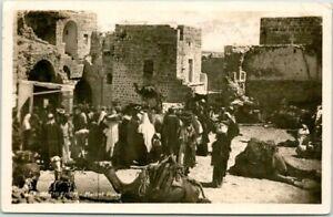 "Vintage 1930 BETHLEHEM Real Photo RPPC Postcard ""Market Place"" JERUSALEM Cancel"