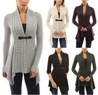 New Women Long Sleeve Sweater Top Casual Irregular Knitted Cardigan Outwear Coat