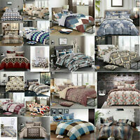 Duvet Set with Quilt Cover, Fitted Sheet 2 Pillow Cases Double King Size Bedding