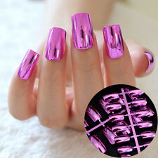 Metal Hot Pink Rose Fake Nails Charming High Quality Full Cover Long Nails N03
