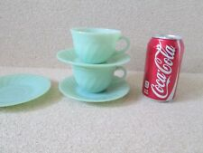 5 PCS SWIRL Fire King Anchor Hocking Jadeite 2x Cups w/ Foil Labels & 3x Saucers